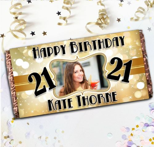 Personalised 110g Chocolate Bar - Gold Sparkle Happy Birthday N27